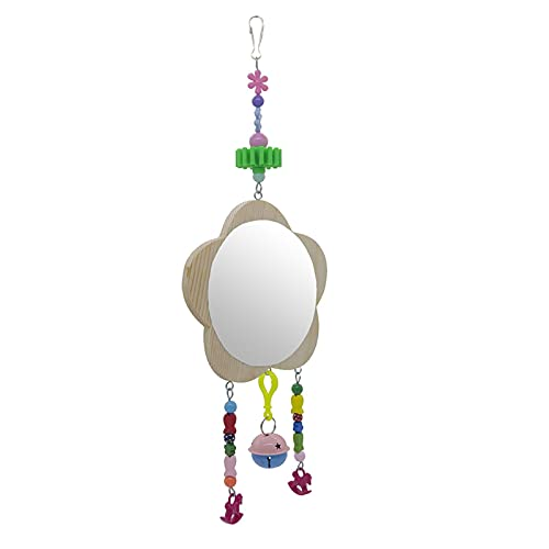 DELITLS Parrot Single Side Pecking Chicken Mirror Toy Durable With Bell Rooster Hanging(Light brown)