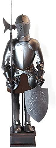 Little Warrior Armor Sword Estatua Arte Decoración Vintage Dios Escultura DE Caballo DE LA ARMADOR DE CABALLA 18 Fibra de Hierro Fundido de Metal para la decoración de la Mesa Colección de Art