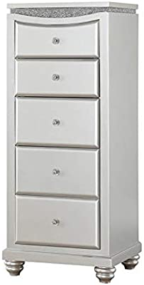 Bowery Hill Modern 5 Drawer Lingerie Chest With Flip Top Mirror In Platinum Furniture Decor