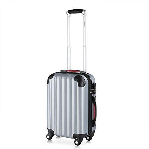 Monzana Maleta rígida Baseline M Color Plata Equipaje de Viaje 38L Peso 2,25Kg con Ruedas 360° Trolley 2 Asas valija