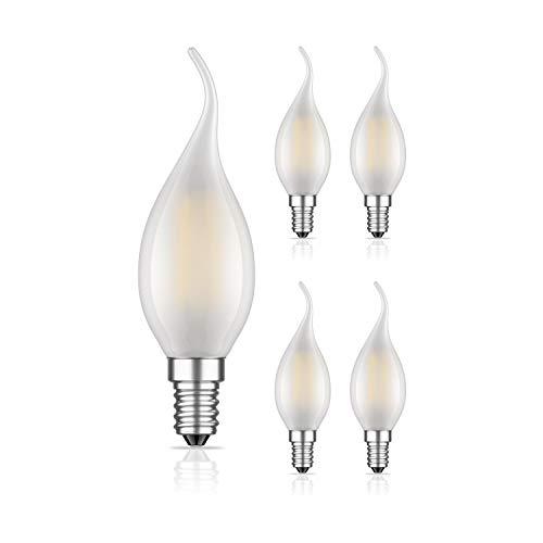 ledscom.de E14 LED candela a fiamma filamento opaco 4W =33W 360lm bianca calda per interni ed esterni, 5 PZ