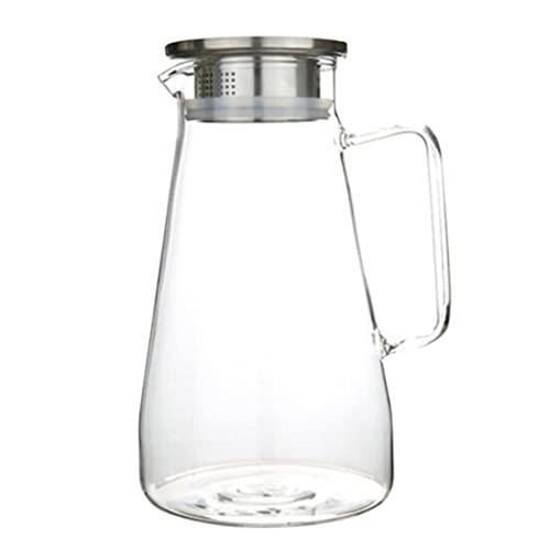 HEMOTON Jarra de vidro para suco de grande capacidade, jarra de água para chá gelado de verão, jarro resistente ao calor, jarro para bebidas com tampa de aço inoxidável para suco, leite, água quente,