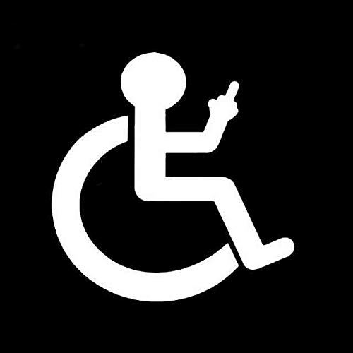 A/X 12,9 cm * 13,2 cm Cartoon Rollstuhl Finger Up Auto Aufkleber Vinyl Aufkleber Schwarz/Silber C3-1989 Silber