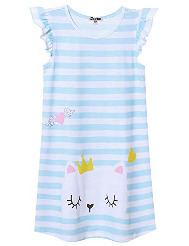 Image of Cute Short Sleeve Striped Kitty Cat Nightshirt for Girls - See More Designs