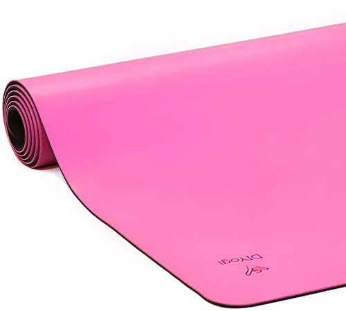 DIYogi Yogamatte aus Naturkautschuk, umweltfreundlich, rutschfest, inkl. Tragegurt XL Rose