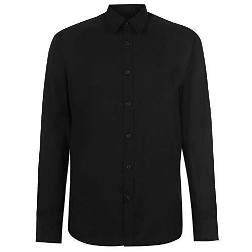 Pierre Cardin. Camisa de manga larga casual para hombre negro L