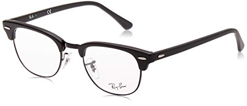 Ray-Ban RX5154 Clubmaster Square Prescription Eyeglass Frames, Matte Black/Demo Lens, 49 mm