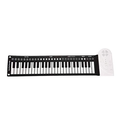 Roll Piano Pädagogisches flexibles Roll-Up elektronisches digitales Musikklavier Kinder 49 Tasten Tastatur Tragbares Design mit Aufnahme Wiedergabefunktionen 16 Töne 10 Rhythmus 6 Demo-Songs Eingebaut