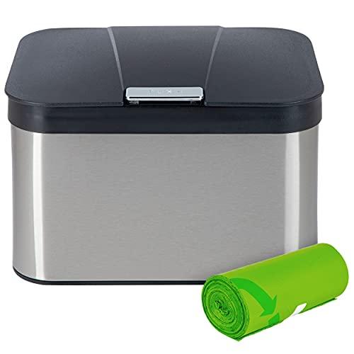ONVAYA® Biomülleimer für die Küche | Komposteimer mit Deckel | Abfallbehälter aus Edelstahl für Biomüll | Bio Abfalleimer | geruchsfrei & luftdicht | 4,3 Liter (Edelstahl Silber mit Müllbeutel)