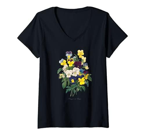 Mujer Pierre Joseph Redoute Pansy Pansies Pintura Jardinero de flores Camiseta Cuello V