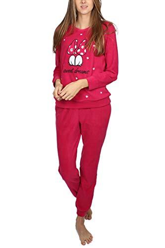 Disney - Pigiama a maniche lunghe, invernale, motivo Minnie, per donna Lampone M
