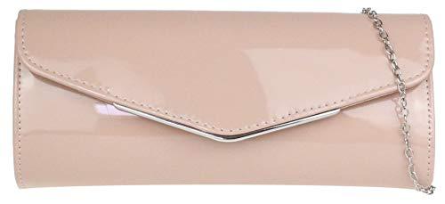 Girly Handbags Pequeño marco brillante del bolso de embrague - Nude