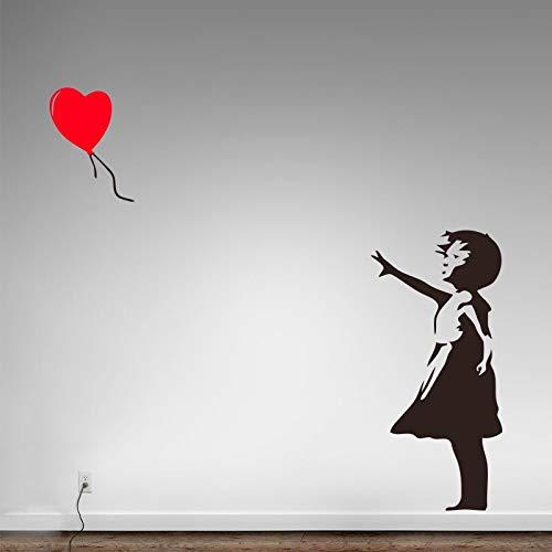 ASFGA Banks vinilos Decorativos para el hogar decoración para el hogar niña con Globo corazón Street Graffiti Art Decal Siempre Quiere murales Kids Room Club 58cm x 123cm