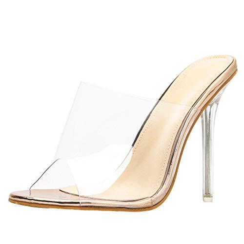 BaZhaHei Moda Trasparente Sandali e Pantofole Donna Tacco Fine Sandali con Tacco Alto Estate Partito delle Scarpe Slip-on Casuale Sandali Sexy da Donna Scarpe da Spiaggia