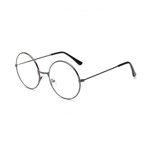 LUOEM Vintage runda glasögon klar lins glasögon utan styrka unisex (Gun-färg)