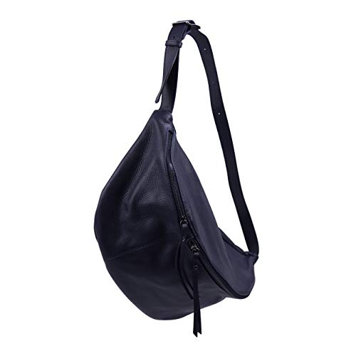 SH Leder echt Leder Damen unisex Brusttasche für Festival Reise gross Hüfttasche Crossbody Bag Frauen Ledertasche 49x28cm Daniela G768 (Dunkel Blau)