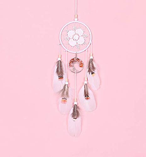 KYHS Handmade Silver Beads Dream Catcher Wind Chimes Creative Home Wall Hangings Car Rearview Mirror Decoration (B)