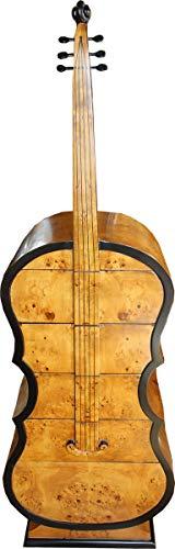 Casa Padrino Art Deco Schubladen Schrank Vogelaugenahorn im Bass Instrumenten Design - Handgefertigt - Biedermeier Möbel