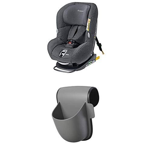 Maxi-Cosi MiloFix Kindersitz, Gruppe 0+ /1 Autositz (0-18 kg), Reboarder mit Isofix, nutzbar ab der Geburt bis ca. 4 Jahre, sparkling grey + Maxi-Cosi Pocket Becherhalter, grau