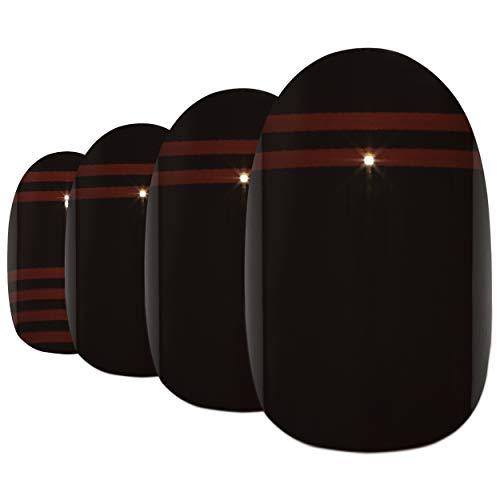 Faux Ongles Bling Art Noir Rouge Glossy Ovale 24 Moyen Faux bouts d'ongles acrylique avec colle