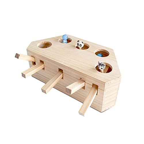 Aoten Juguete de hámster para jugar a gatos, de madera maciza, para ocio y entretenimiento, juguete para mascotas