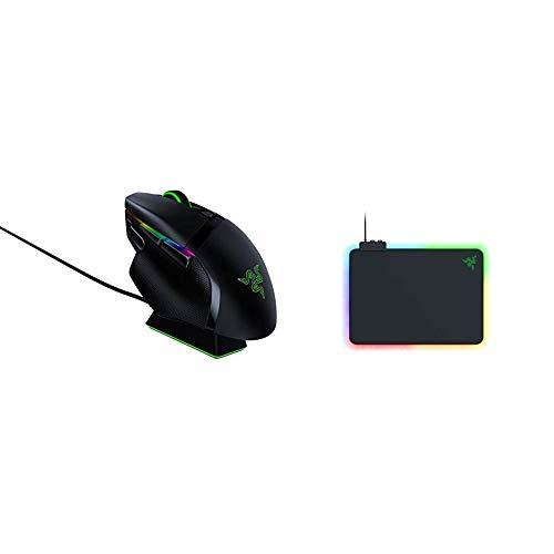 Razer Basilisk Ultimate - Kabellose Gaming-Maus mit 11 programmierbaren Tasten + Firefly V2 Mikrostrukturierte Gaming-Mausmatte mit RGB-Beleuchtung, Powered by Razer Chroma