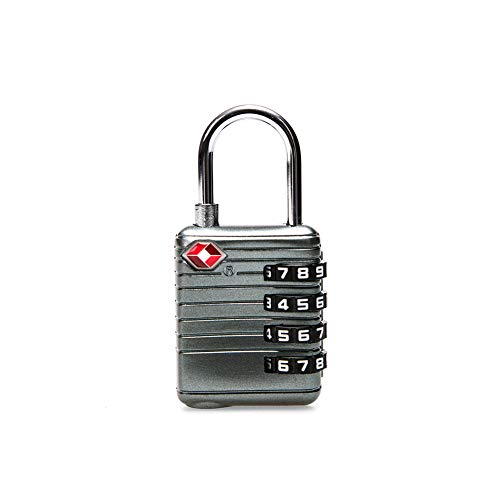 Travelkin TSA Compatible Travel Luggage Locks,4 Digit TSA Approved Padlock for Suitcase & Backpack (Silver Grey-1PACK)