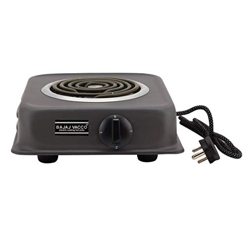 BAJAJ VACCO Electric Coil Hot Plate 2000 WATT PC W/REG Stainless Steel Burner (Black)