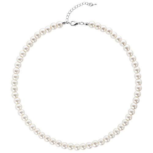BABEYOND Perlen Ketten Damen Kurze Runde Imitation Perle Halskette Hochzeit Perlenkette für Braut Weiß (Durchmesser der Perle 8mm)
