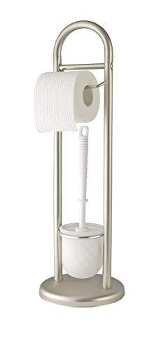 WENKO Stand WC-Garnitur Siena, Ständer für Toilettenpapier & Toilettenbürste, WC-Papierhalter, stehender Rollenhalter inkl. Bürste, Stahl, Ø 19 x 63 cm, chrom matt