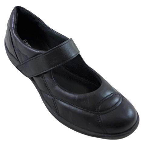 Dora 23 Gel | Therapeutischer FliessGel Riemchen Komfort Schuh | aus echtem Leder | zur Linderung von müden Füssen | mit 2 austauschbaren Einlagen | Extra Wert: 39,90 Euro (Schwarz, Numeric_35)