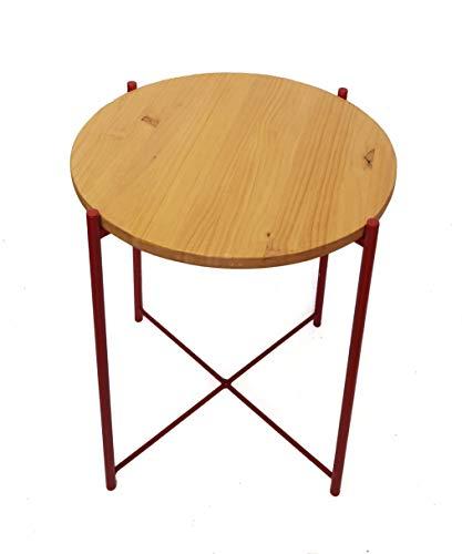 Mesa auxiliar redonda, base de madera con estructura de aluminio roja.