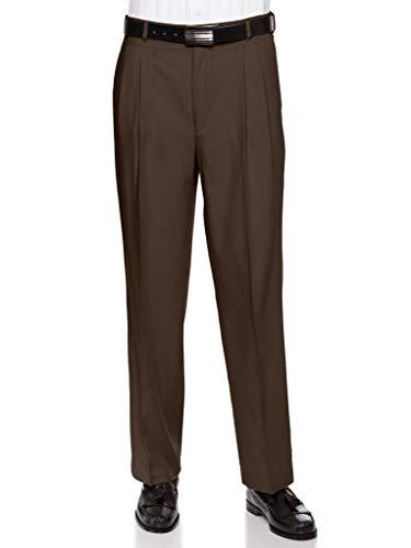 Mens Pleated Front Dress Pants – Wool Blend Long Formal Pants for Men, Made in USA Brown 42 Medium