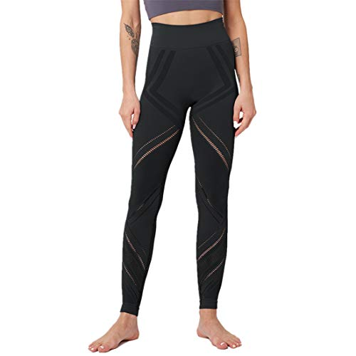 Fyj Sports Leggings with Pockets for Women Mesh Trousers Yoga Pants Tights Gym Workout Fitness Training Athletic Stretchy Slim Tummy Control for Gym, Cycling, Yoga, Running, Daily Leisure 2020 S