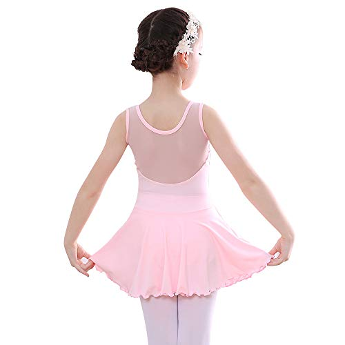 Bezioner Niña Vestido de Ballet Maillot de Danza Gimnasia Clásico Tutú sin Mangas con Falda Rosa 130