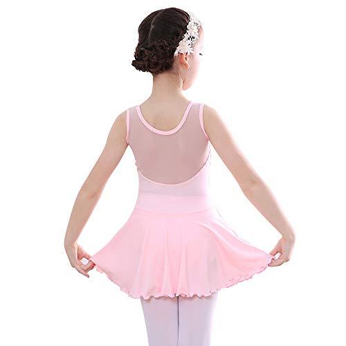 Bezioner Niña Vestido de Ballet Maillot de Danza Gimnasia Clásico Tutú sin Mangas con Falda Rosa 120