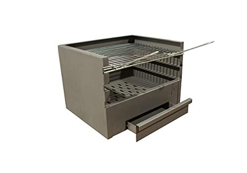 Cajón para Barbacoa con parilla, barbacoa rectangular 60x41 carbón y leña con 3 alturas y cajón para cenizas.