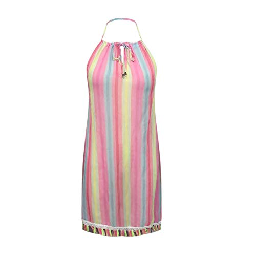 Emeinkei Vestido de Playa con Cuello Halter Sexy con Franja de Contraste de Rayas Coloridas para Mujer(Raya de color-14,S)
