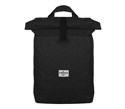 Rucksack Backpack Daypack Roll Top Überschlag Rollover Nylon Kuriertasche (Schwarz)