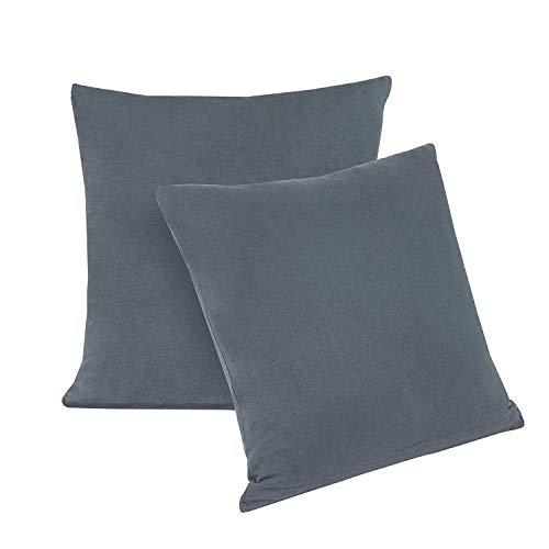 Preisvergleich Produktbild Doppelpack Serie Jersey Kissenbezüge mit Reißverschluss aus 100% Baumwolle in 12 modernen Farben und 5 Größen (40 x 40 cm,  Anthrazit)