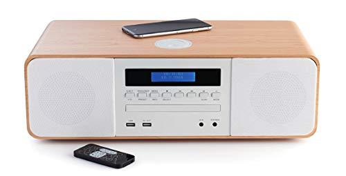 Thomson MIC201IBT - Micro chaîne HIFI Bluetooth (lecteur CD, radio, MP3, USB), chargeur induction, couleurs bois et blanc.