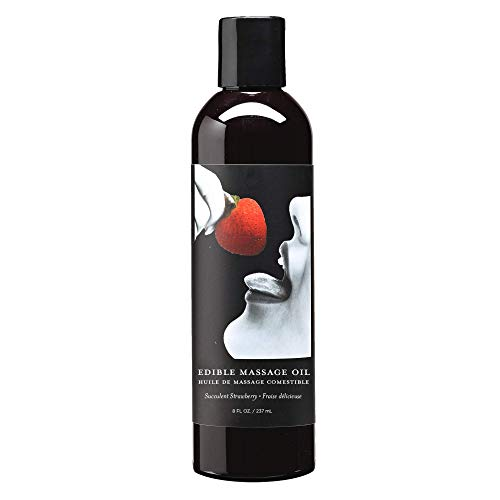 Earthly Body Edible Massage Oil, Strawberry - 8 fl. oz. - Hemp Seed, Almond, Grapeseed, Apricot & Vitamin E Oil - Vegan & Cruelty Free