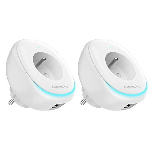 Prise WiFi avez Lampe Led Smart et 2 Ports USB, Maxcio Prise Connectée Intelligente, Prise Alexa Smart Plug Compatible avec Alexa et Google Home, Contrôle APP à Distance, Fonction Timer-2 Packs