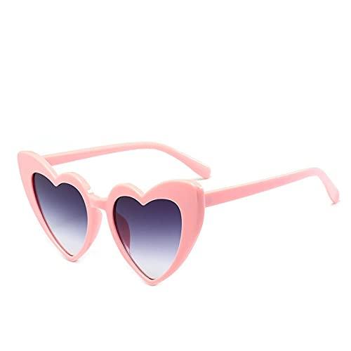 ShZyywrl Gafas De Sol Gafas De Sol Love Heart para Mujer, Ojo De Gato, Gafas De Sol Vintage, Gafas En Forma De Corazón para Mujer, Doble Gris