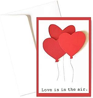 Love is in the air - palloncini - cuori - san valentino - biglietto d'auguri (formato 15 x 10,5 cm) - vuoto all'interno, i...