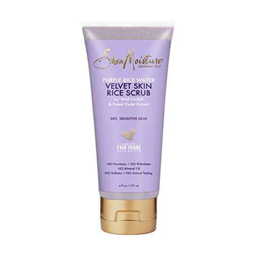 SheaMoisture Velvet Skin Rice Scrub Exfoliating Scrub for Dry Skin Purple Rice Water with Shea Butter 6 oz