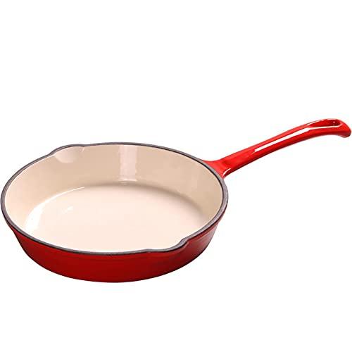 Cazos de Cocina,Sartén QWEA, sartén esmaltada, sartén de fondo plano, sartén antiadherente (color: rojo, tamaño: 16 cm)