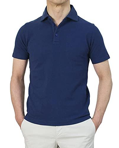 クルチアーニ Cruciani コットン 鹿の子 ニット 半袖 ポロシャツ JU1371 48,ネイビー
