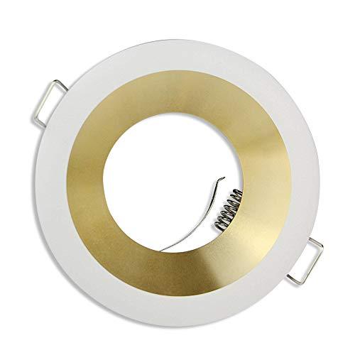 6x marco de foco empotrado blanco/oro redondo - marco de montaje para bombilla GU10 MR16 100x100mm - orificio de Ø75mm en aluminio empotrado - foco empotrado
