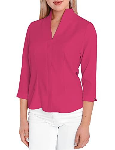 HEVENTON Damen-Bluse mit Kelchkragen Hemd-Bluse Stehkragen bügelleicht tailliert Business 3/4 Ärmel 12051 Farbe Pink, Größe 40